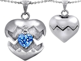 Original Star K Puffed Heart Pendant with December Birthstone Genuine Blue Topaz Surprise Inside