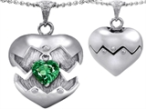 Original Star K Puffed Heart Pendant with May Birthstone Simulated Emerald Surprise Inside