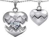 Original Star K Puffed Heart Pendant with April Birthstone Genuine White Topaz Surprise Inside