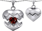 Original Star K Puffed Heart Pendant with January Birthstone Genuine Garnet Surprise Inside