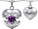 Original Star K™ Puffed Heart Pendant with February Birthstone Genuine Amethyst Surprise Inside