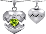 Original Star K Puffed Heart Pendant with August Birthstone Genuine Peridot Surprise Inside
