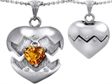 Original Star K Puffed Heart Pendant with November Birthstone Genuine Citrine Surprise Inside