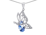Original Star K Butterfly Pendant With Pear Shape Simulated Aquamarine