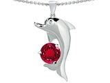 Original Star K Round 7mm Created Ruby Good Luck Dolphin Pendant