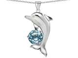 Original Star K Round 7mm Simulated Aquamarine Good Luck Dolphin Pendant