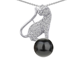 Original Star K Cat Pendant With 7mm Simulated Black Pearl