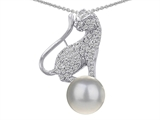 Original Star K™ Cat Pendant With 7mm Simulated  White Pearl