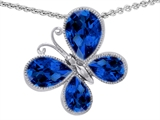 Original Star K™ Butterfly with Pear Shape Created Sapphire Pendant