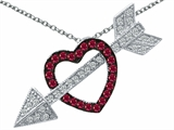 Original Star K Created Ruby Heart With Love Arrow Pendant