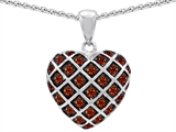 Original Star K™ Genuine Garnet Puffed Heart Pendant style: 303276