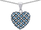 Original Star K Genuine Blue Topaz Puffed Heart Pendant