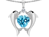 Original Star K Kissing Love Dolphins Pendant With 8mm Heart Shape Genuine Blue Topaz