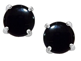 Original Star K Round Cab Genuine Black Onyx Earrings Studs