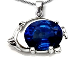 Original Star K™ Lucky Pig Pendant With Oval Created Blue Sapphire style: 303314