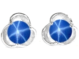 Original Star K Round 6mm Created Star Sapphire Flower Earring Studs