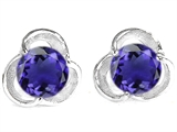 Original Star K Round 6mm Simulated Tanzanite Flower Earring Studs