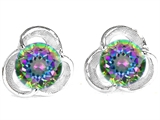 Original Star K™ Round Genuine Mystic Topaz Flower Earring Studs