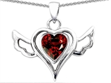 Original Star K™ Wings Of Love Pendant with Heart Genuine Garnet