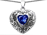 Original Star K Bali Style Puffed 7mm Heart Hand Finished Created Sapphire Pendant