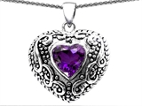 Original Star K™ Bali Style Puffed Heart Hand Finished Genuine 7mm Amethyst Pendant