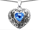 Original Star K™ Bali Style Puffed 7mm Heart Simulated Blue Topaz Pendant style: 303348