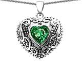 Original Star K Bali Style Puffed 7mm Heart Hand Finished Simulated Emerald Pendant