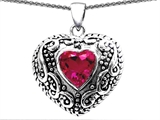 Original Star K™ Bali Style Puffed 7mm Heart Hand Finished Created Pink Sapphire Pendant