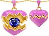 Original Star K™ Puffed Pink Enamel Heart Pendant with September Birthstone Simulated Sapphire Surprise Inside