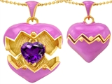 Original Star K™ Puffed Pink Enamel Heart Pendant with February Birthstone Genuine Amethyst Surprise Inside