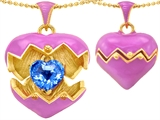 Original Star K Puffed Pink Enamel Heart Pendant with December Birthstone Genuine Blue Topaz Surprise Inside