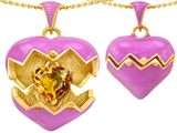 Original Star K Puffed Pink Enamel Heart Pendant with November Birthstone Genuine Citrine Surprise Inside