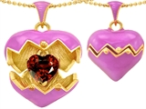 Original Star K Puffed Pink Enamel Heart Pendant with January Birthstone Genuine Garnet Surprise Inside