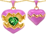 Original Star K Puffed Pink Enamel Heart Pendant with May Birthstone Simulated Emerald Surprise Inside