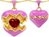 Original Star K™ Puffed Pink Enamel Heart Pendant with July Birthstone Simulated Ruby Surprise Inside