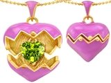 Original Star K Puffed Pink Enamel Heart Pendant with August Birthstone Genuine Peridot Surprise Inside
