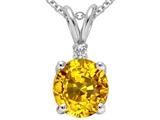 Tommaso Design™ Genuine Round Yellow Sapphire Pendant style: 303375