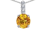 Tommaso Design™ Round Genuine Yellow Sapphire and Diamond Pendant