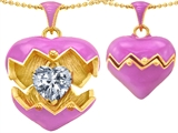 Original Star K Puffed Pink Enamel Heart Pendant with December Birthstone Genuine White Topaz Surprise Inside