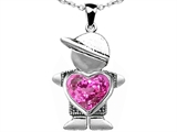 Original Star K™ Little Boy Holding 8mm Heart Mother Birthstone Pendant Created Pink Sapphire