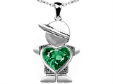 Original Star K™ Little Boy Holding 8mm Heart Mother Birthstone Pendant With Simulated Emerald