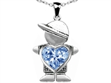 Original Star K™ Little Boy Holding 8mm Heart Mother Birthstone Pendant Simulated Aquamarine
