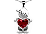 Original Star K™ Little Boy Holding 8mm Heart Mother Birthstone Pendant Created Ruby