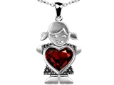 Original Star K Little Girl Holding 8mm Heart Mother Birthstone Pendant with Genuine Garnet