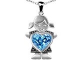 Original Star K™ Little Girl Holding 8mm Heart Mother Birthstone Pendant with Genuine Blue Topaz