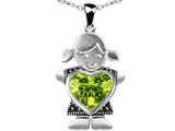 Original Star K Little Girl Holding Heart Mother Birthstone Pendant with Genuine Peridot