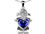 Original Star K Little Girl Holding 8mm Heart Mother Birthstone Pendant Created Sapphire