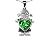 Original Star K Little Girl Holding 8mm Heart Mother Birthstone Pendant With Simulated Emerald