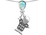 Original Star K™ Boy Holding a Balloon Mother October Birth Month Pear Shape Simulated Opal Pendant style: 303414