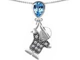 Original Star K™ Little Boy Holding a Balloon Mother Birthstone Simulated Blue Topaz Pendant
